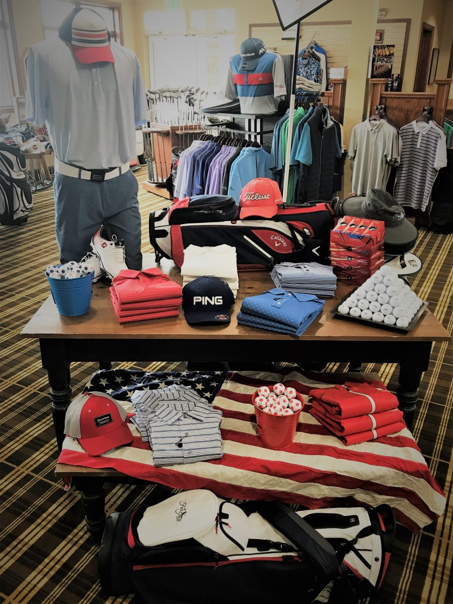 A display set up at the pro shop at The Fox Hill Club