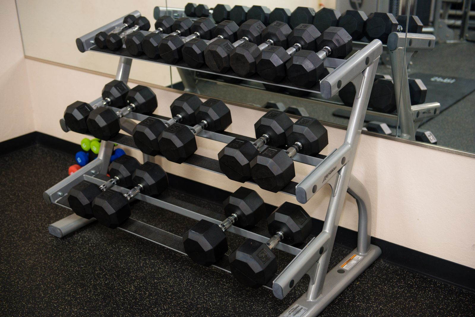 A rack of weights in the workout room at The Fox Hill Club