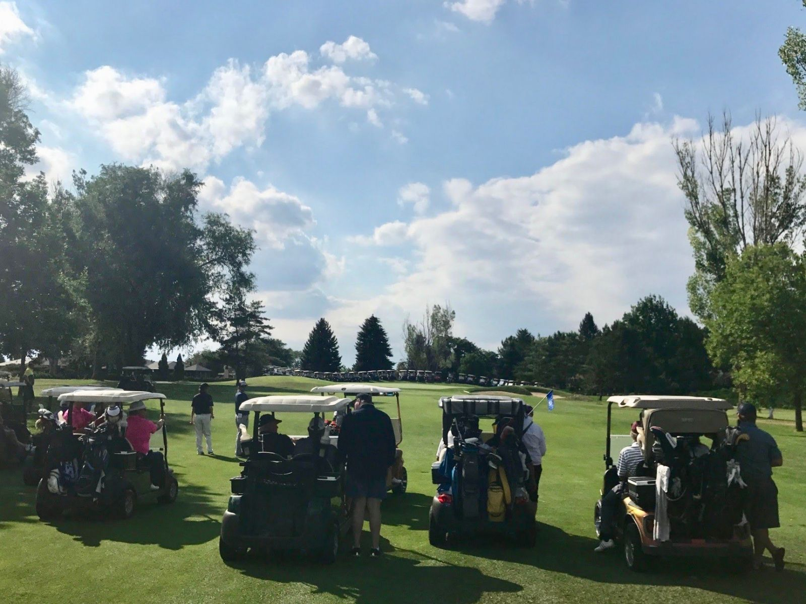 Golfs carts ready to go at The Fox Hill Club