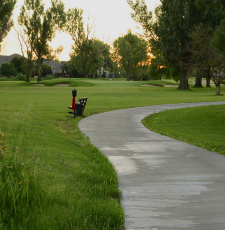A cart path winds through the course at The Fox Hill Club
